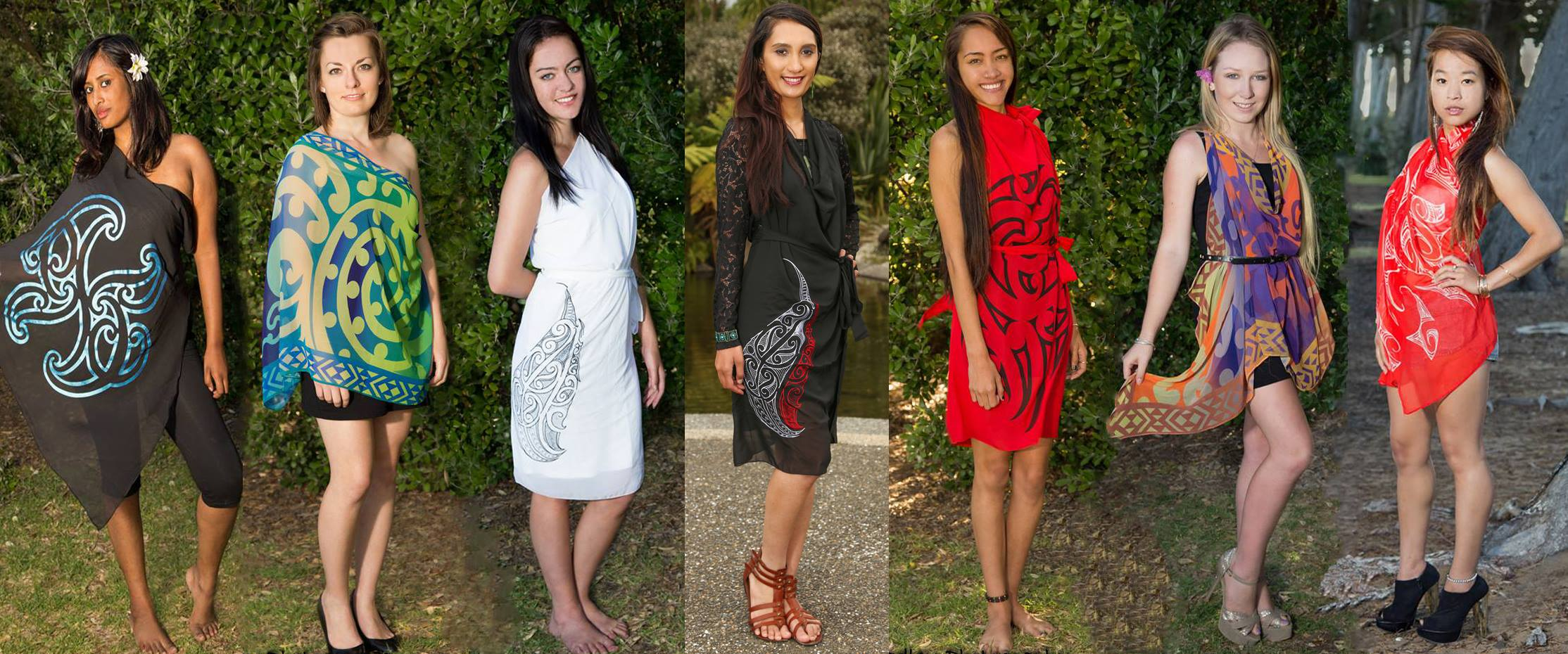 MSA 2014 contestants (left to right) Shaayal Gounden Helene Holman Kayla Dittmer Sarah Brodrick (Miss South Auckland 201213) Maria Mafi Shannon Barry Aysaas Tang