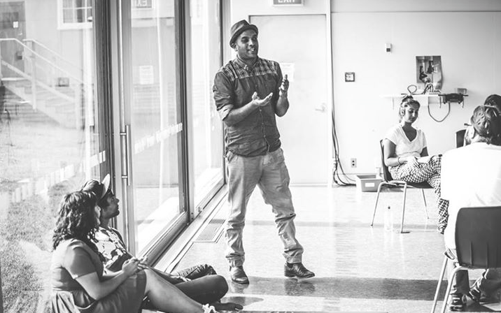 Playwright and Director Ahi Karunaharan in rehearsal for The Mourning After, Photography by Shovik Nandi
